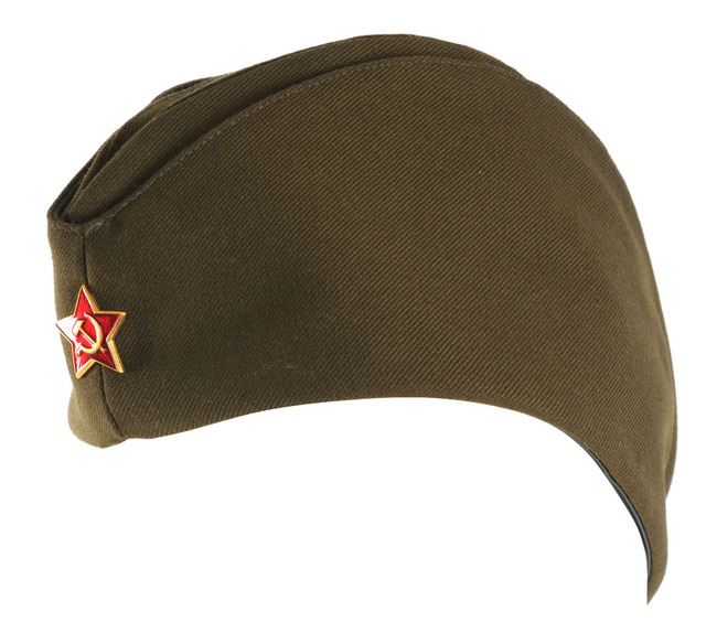 WWII USSR SOVIET MILITARY ARMY GARRISON CAP WITH BADGE XL-35381
