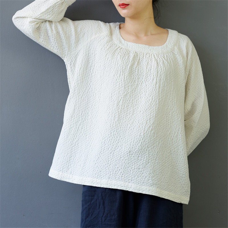SCUWLINEN 2020 Jaro Podzim Ženy Topy Pro volný čas Čepice Jacquard Plátěné Bavlněné Dámské tričko Kawaii Blusa S455