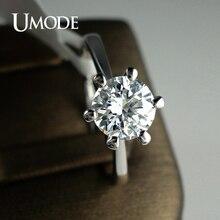 UMODE Классические фианитовые обручальные кольца с покрытием из белого золота с 6 сияющими солитерами 1кт JR0012B