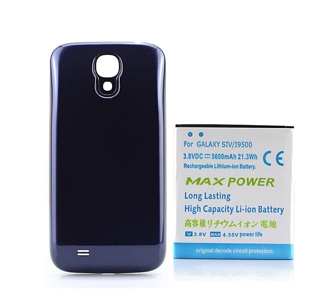 Livraison Gratuite Générique Bleu Avancée De Sauvegarde Épais 5600 MAH Bateria Batterie avec la Couverture Arrière Pour Samsung Galaxy S4 SIV i9500
