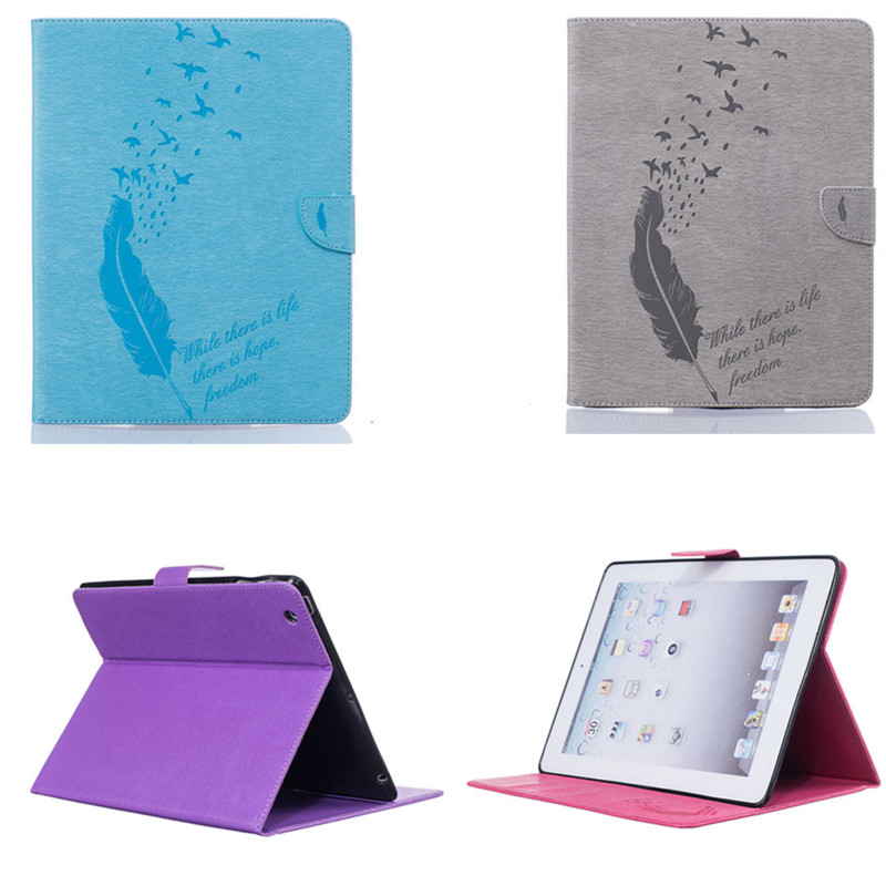 BF Luxury PU Leather Feather Style Case for iPad 2 3 4 Vintage Flip Stand Cover for iPad2 New iPad3 iPad4 Case with Card Slots
