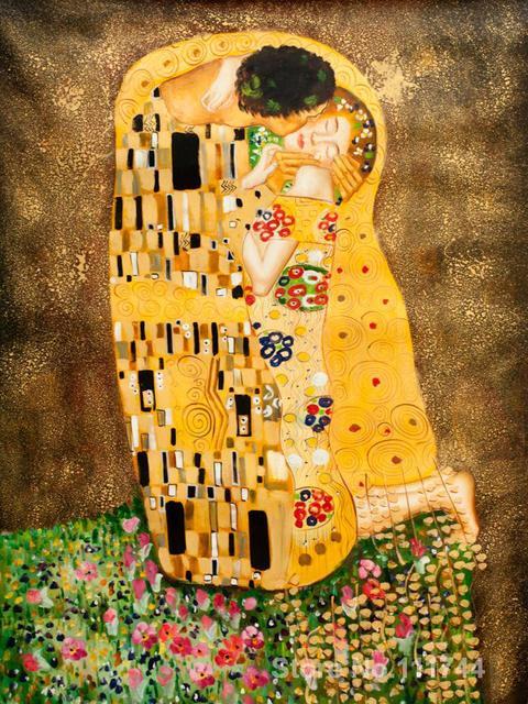 gold gem lde der kuss vollst ndige ansicht durch gustav klimt ber hmte kunst reproduktionen. Black Bedroom Furniture Sets. Home Design Ideas