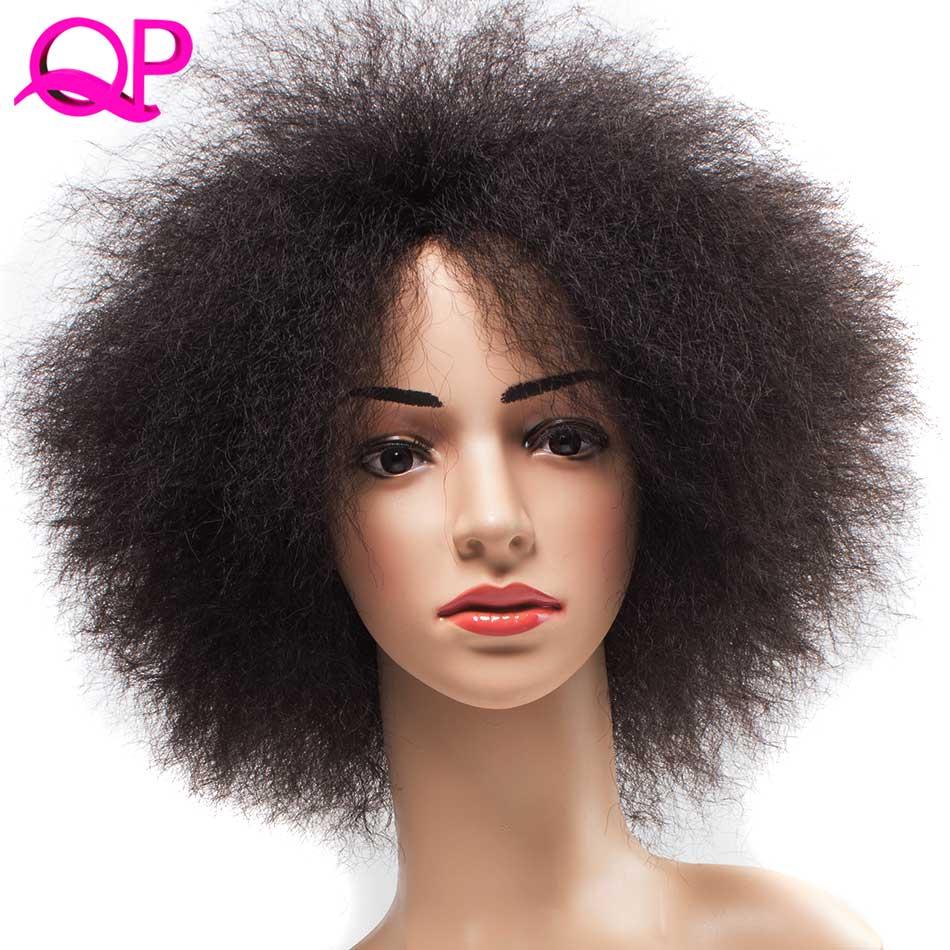QP Hår Afro Kinky Rak Paryk Afrikansk Kort Paryk För Kvinnor 99J Kanekalon Cosplay Syntetisk Paryk