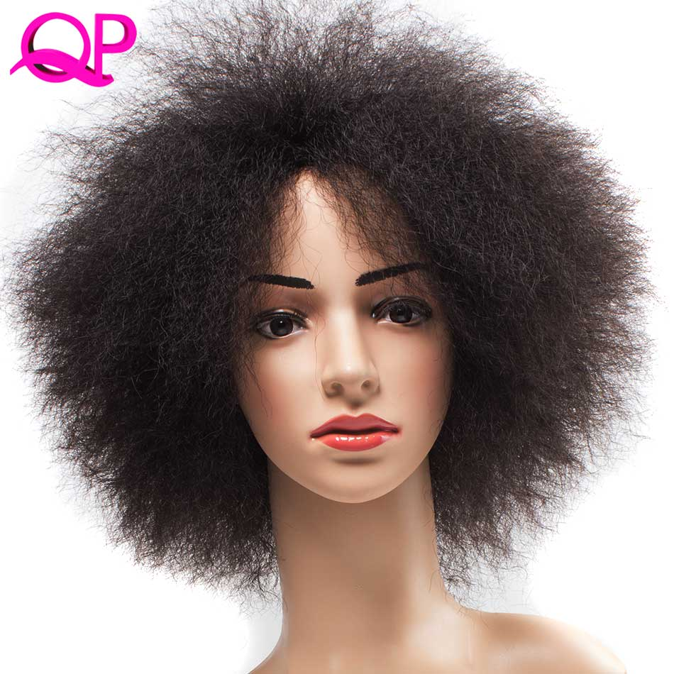 QP Hair Afro Perwersyjna prosta peruka afrykańska Krótka peruka Dla kobiet 99J Kanekalon Cosplay syntetyczna peruka