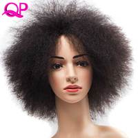 QP Hair Afro Kinky straight Wig African Short Wig For Women 99J Kanekalon Cosplay Synthetic Wig