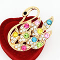 Colorful Crystals Gold Tone Alloy Swan Pins Brooches Lady Dress Pins