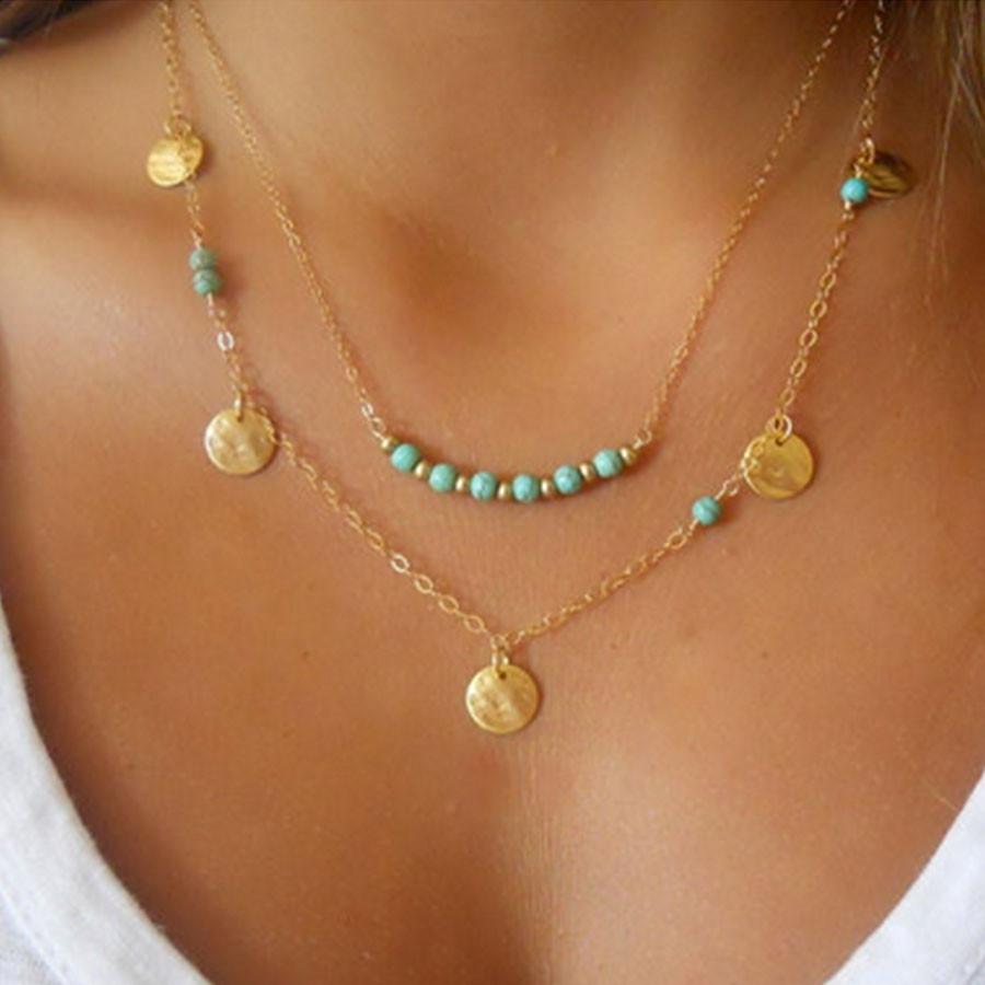 3b0883236a4a Moda Bohemia joyería multi capa collar oro plata color verde cuentas ...