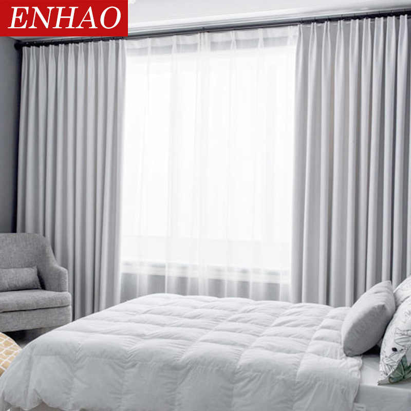 ENHAO Modern Blackout Curtains for Living Room Bedroom Window Curtains for Solid Thick Curtains Fabric Drapes Blind Custom made
