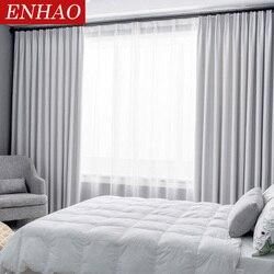 ENHAO moderno apagón cortinas para sala de estar dormitorio cortinas de la ventana para sólido grueso cortinas ciego de