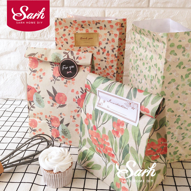 3 or 4 pcs/lot Countryside Style Flower Cake Paper Bag Chocolate Muffin Biscuits Box for Cookie Package LD108