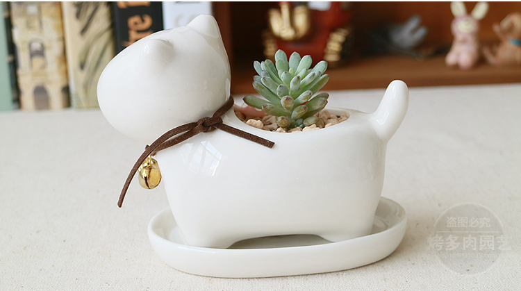 Cute Animal Potted Flowers Gardening Succulents Planter Pot White Ceramic Flowerpot Lovely Animal Succulent Plants Flowerpot 13