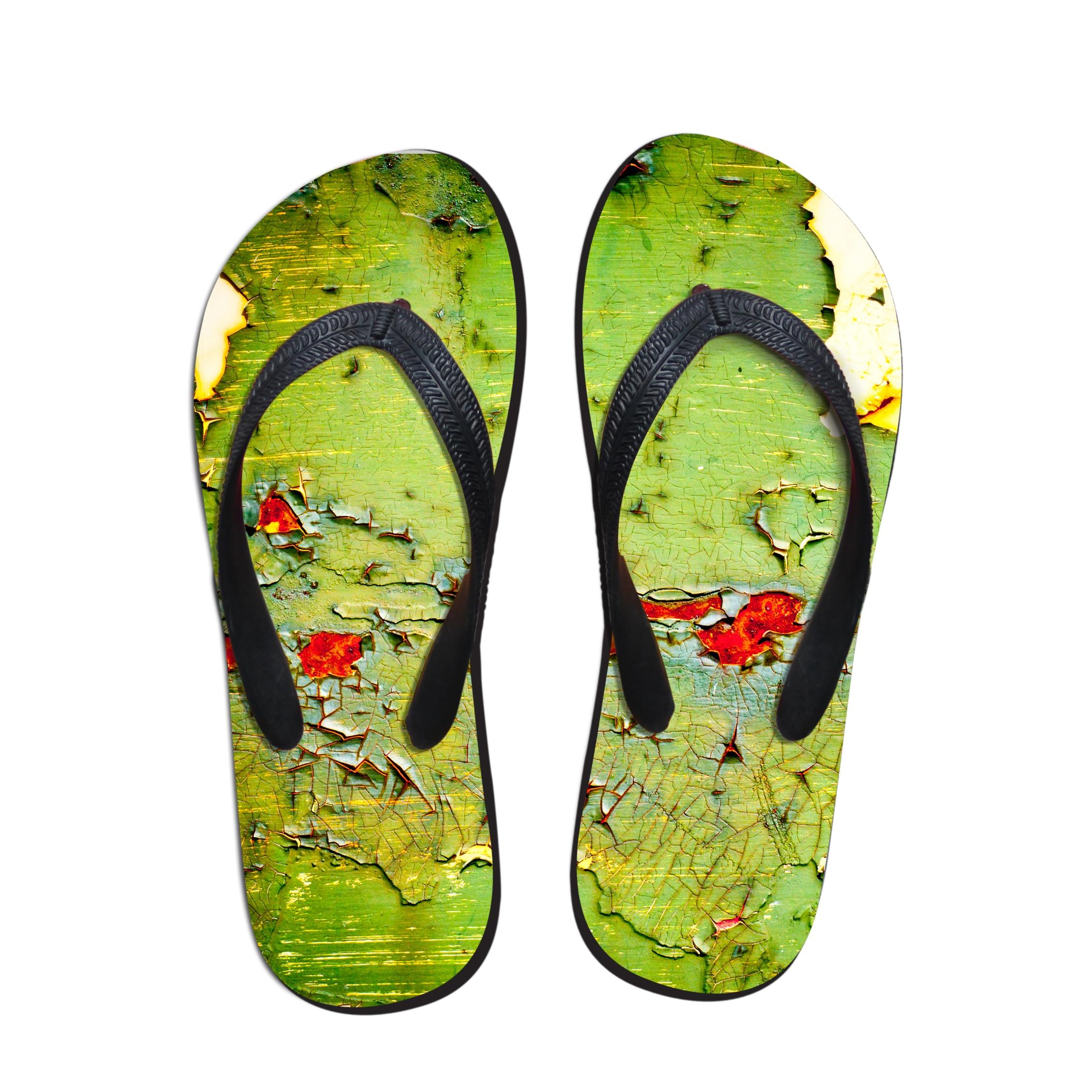ELVISWORDS/мужские тапочки с принтом; мужские вьетнамки в винтажном стиле; парные туфли для подростков; модные шлепанцы без застежки; домашняя обувь - Цвет: C1013AB