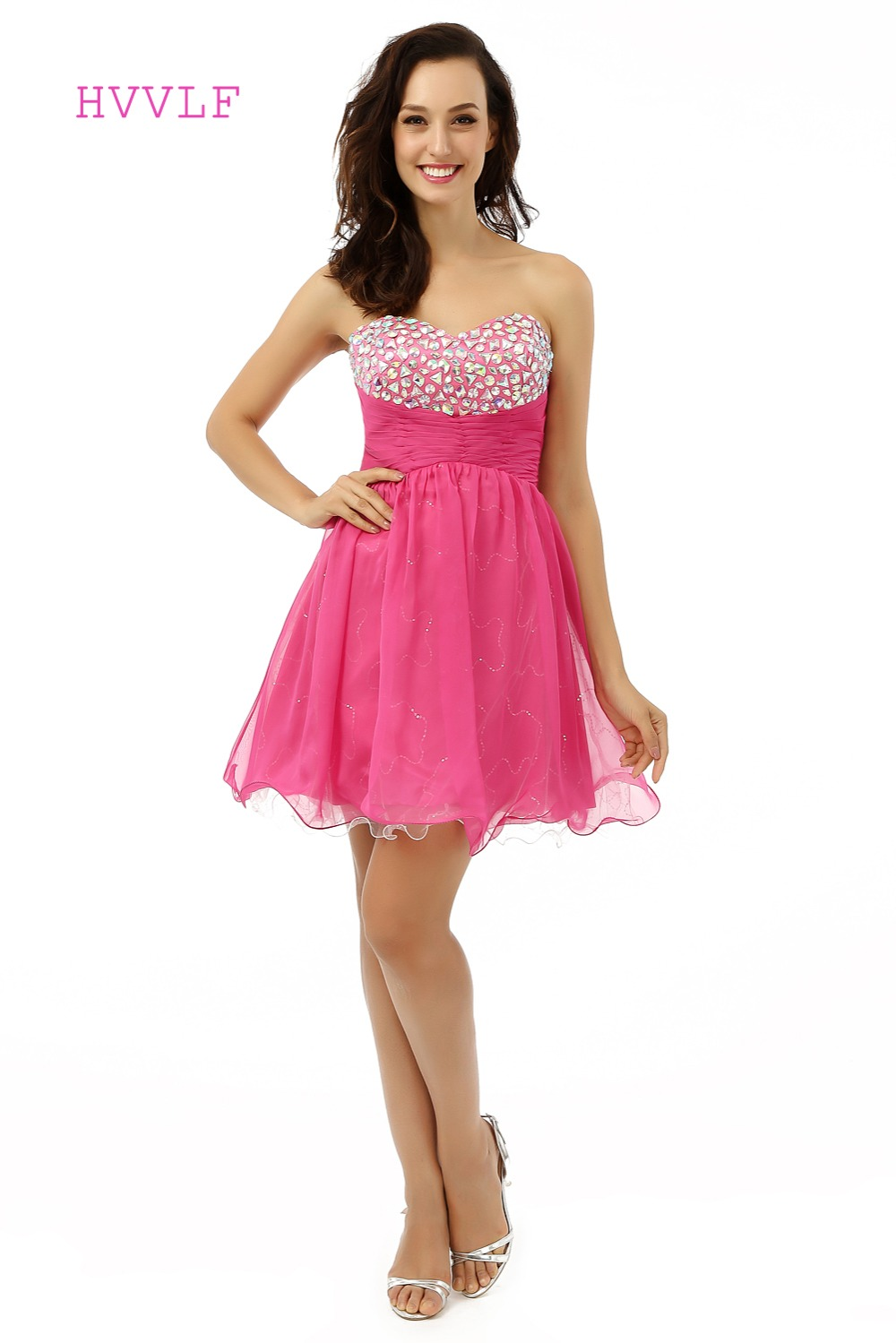 Fuchsia Homecoming   Dresses   A-line Sweetheart Organza Crystals Backless Short Mini Sparkly Sweet 16   Cocktail     Dresses   2019