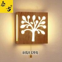 היומן pullswitch מנורת LED חיים עץ נורדי הצבאים ראש עץ טאטאמי מנורה שליד המיטה