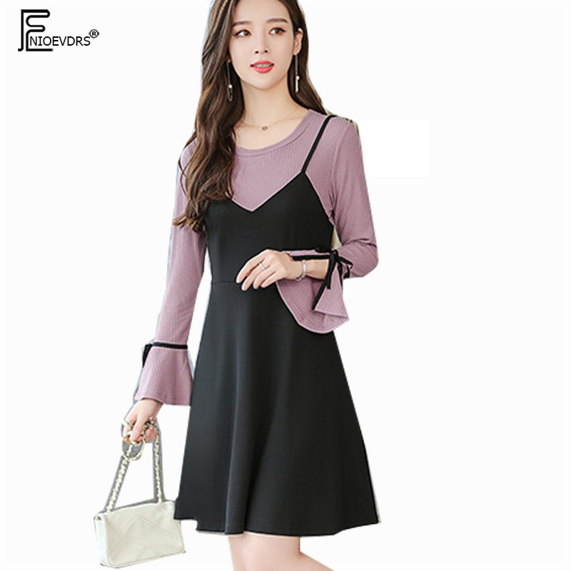 US $14.39 20% OFF|2019 Plus Size Clothes Cute Dresses Women Flare Sleeve A  Line Belly Design Patchwork Bow Tie Fake Faux Two Piece Dress 5XL 4XL-in ...