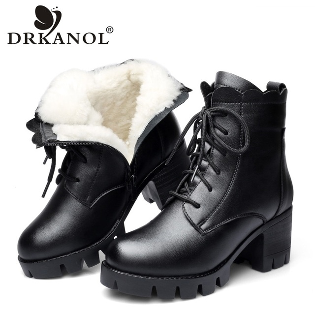 DRKANOL 2018 Women Snow Boots Winter High Heel Ankle Boots Women Warm Platform Shoes Genuine Leather Thick Wool Fur Booties