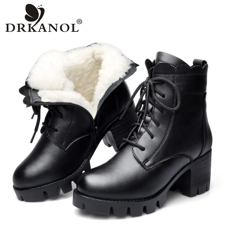 DRKANOL 2019 Women Snow Boots Winter High Heel Ankle Boots Women Warm Platform Shoes Genuine Leather Thick Wool Fur Booties