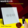 Makegood EU Standard  Remote Control Wall Touch Curtain Switch Luxury Glass for Electric Curtains by Broadlink for Smart Home
