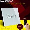 Makegood estándar de la ue de pared sistema de control remoto táctil interruptor de la cortina de cristal de lujo para cortinas eléctricas by broadlink para el hogar inteligente
