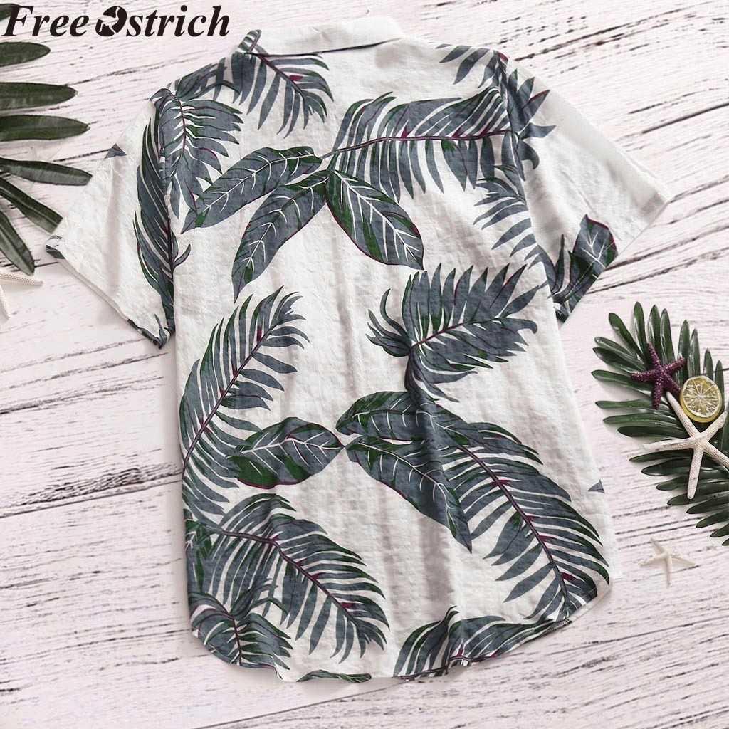 Гавайский стиль Мужская рубашка с коротким рукавом с принтом отдых плюс размер повседневная подставка с воротником Свободная рубашка одежда комфортные Топы