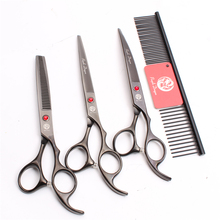 Z3003 4Pcs 7 Black Steel Comb + Cutting Shears Thinning Scissors Down Curving Professional Pets Hair Suit