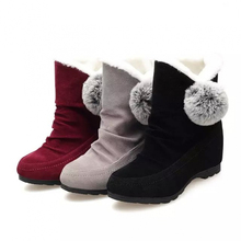 New winter slope with the new increase in women's shoes rabbit hair ball ball boots boots snow boots cotton boots women's cotton