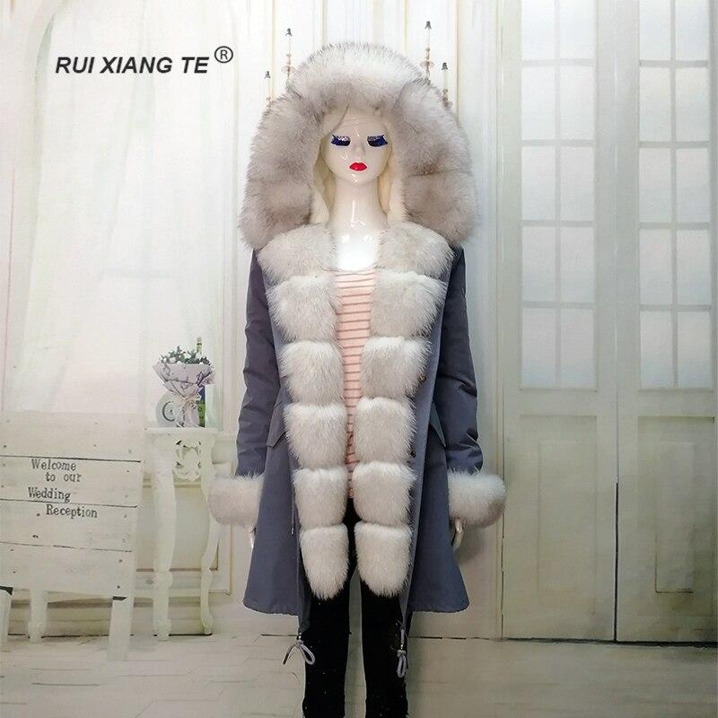 RuiXiangTe women real fur coat full pelt fox fluffy collar rex rabbit parka long winter outerwear