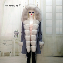 RuiXiangTe women real fur coat full pelt fox fluffy collar rex rabbit parka long winter outerwear