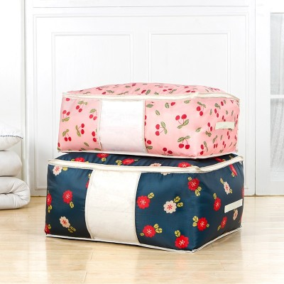 New Printed Quilt Storage Bag with Window (M) Oxford Luggage Bags Home Organizer Waterproof Wardrobe Clothes Storing Bags 2296XD