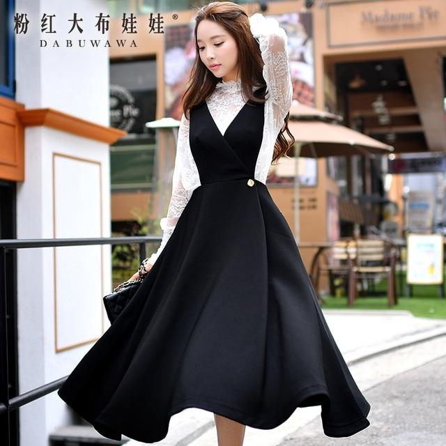 297a5016a4a original suspender skirt female 2016 autumn british style new fashion  temperament big swing waist women maxi skirts wholesale