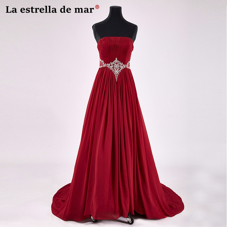 Plus size vestido de madrinha de casamento longo2018 new sexy strapless crystal a Line burgundy bridesmaid dresses long