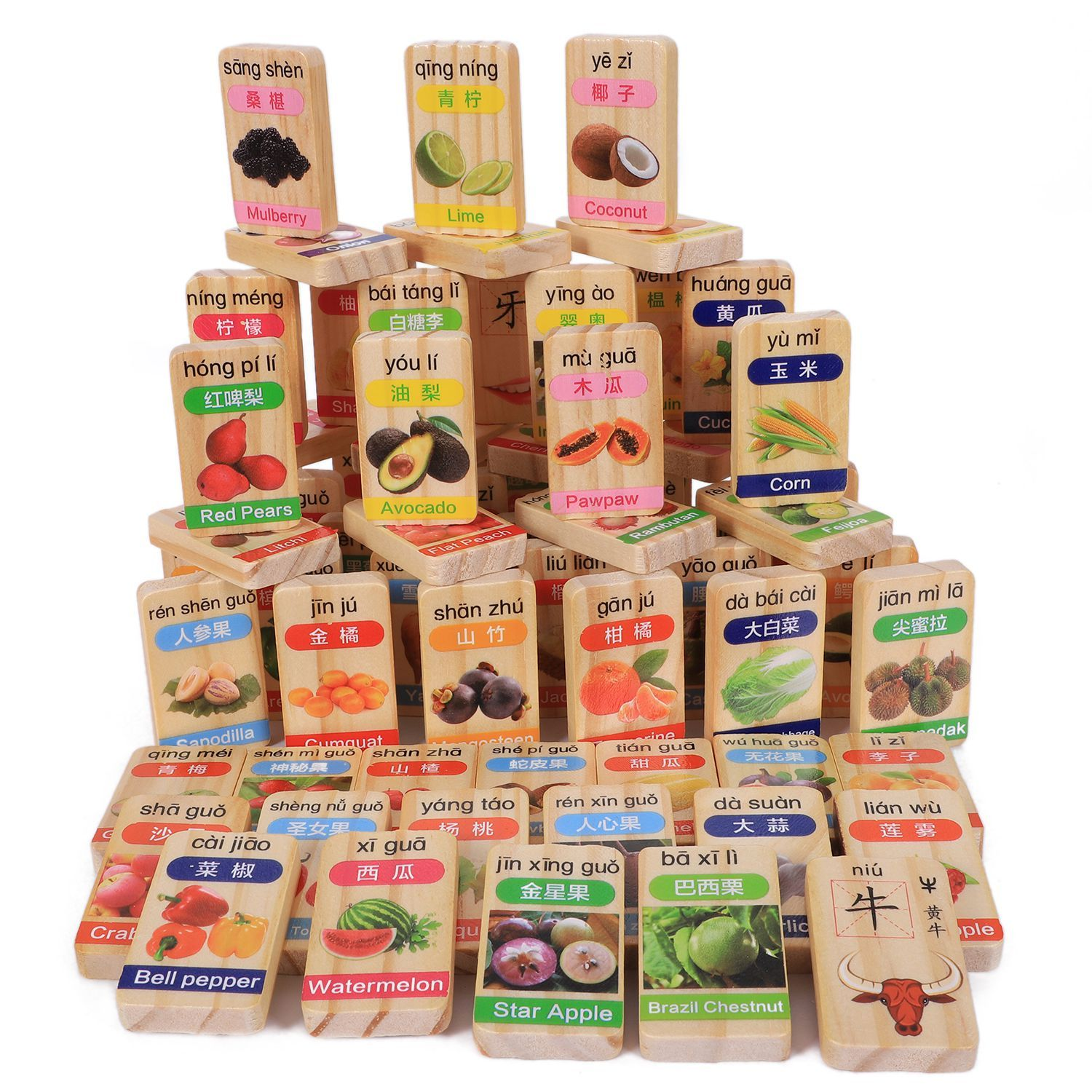 Lower Price with Ainy-mwz 100pcs Fruit Chinese Character Cognition Pine Wooden Dominoes Children Wooden Domino Blocks Toys Puzzles & Games Puzzles Fruit