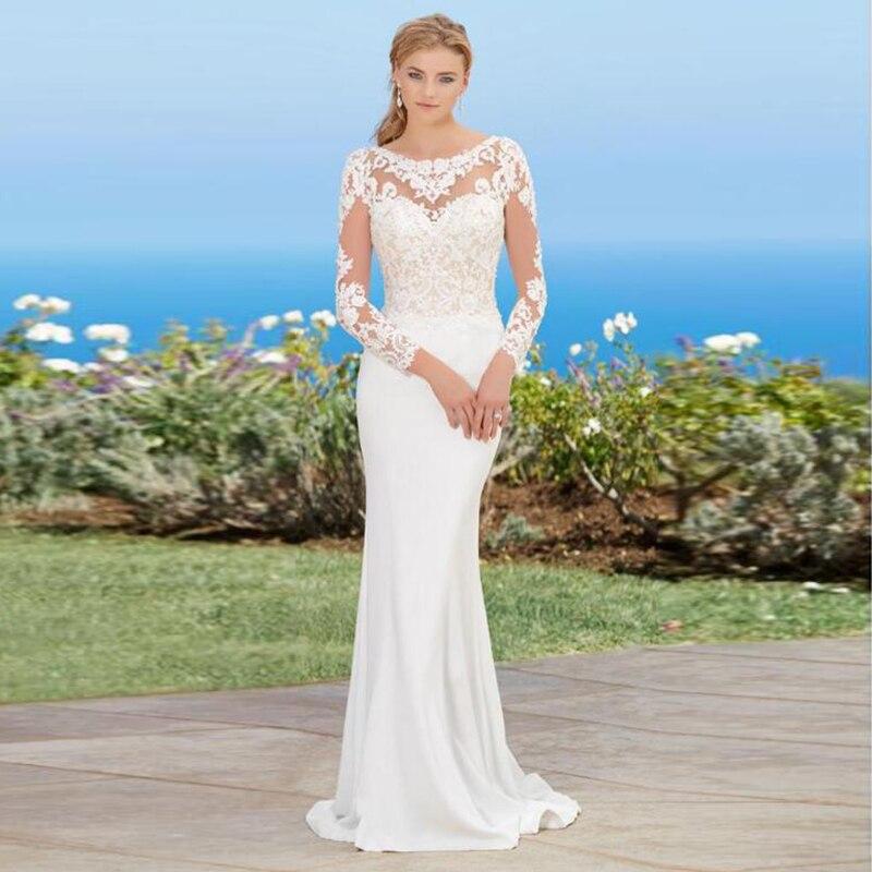 Robe de mariée sirène à manches longues encolure dégagée Appliques dentelle plage robe de mariée Train princesse robe de mariée robe de mariee longue
