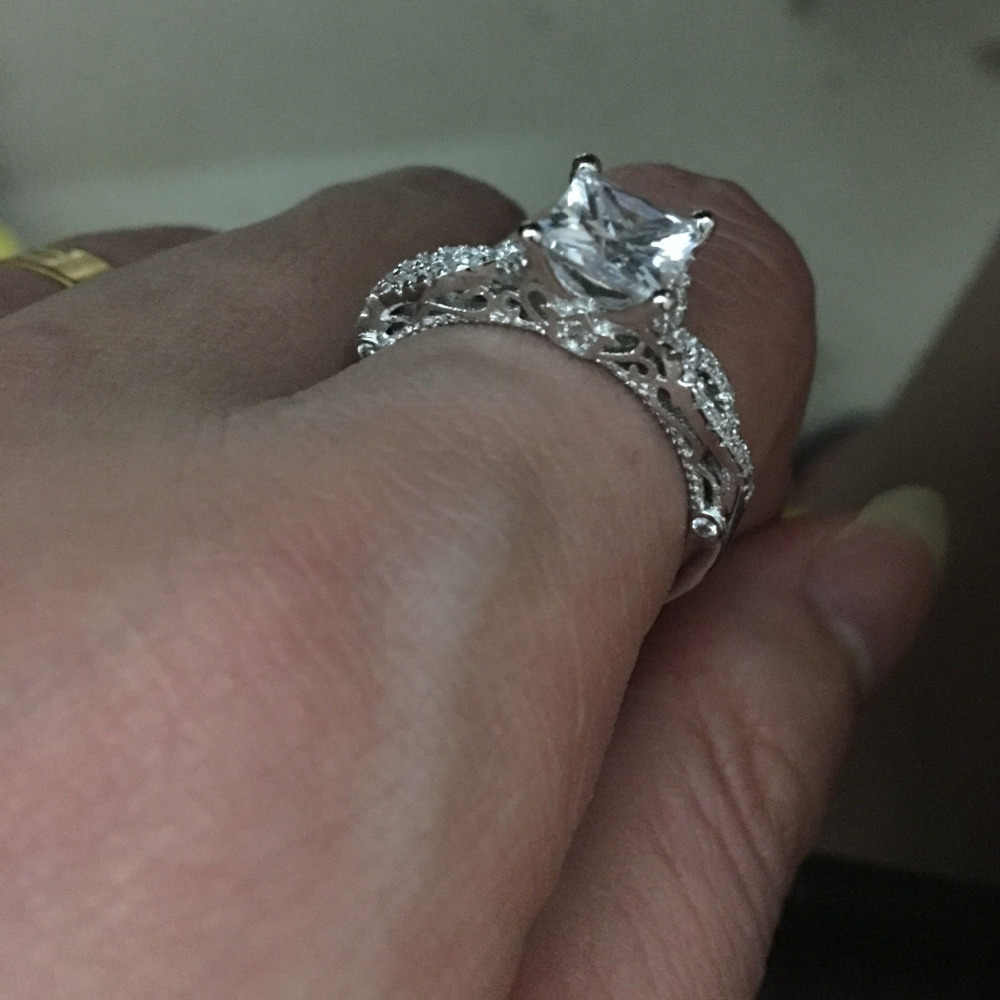 ผู้หญิง VINTAGE Handmade เจ้าหญิงตัด 2ct 5A Zircon CZ 925 เงินสเตอร์ลิงแหวนหมั้นแหวนแต่งงานสำหรับผู้หญิง