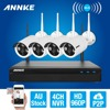 ANNKE 4CH CCTV System Wireless 960P NVR DVR 4PCS 1 3MP IR Outdoor P2P Wifi IP