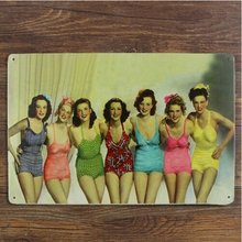Sexy Pin Up Bikini Girls Back Retro Metal Tin Sign Pub Bar Art Poster Wall Decor 20x30CM(China)