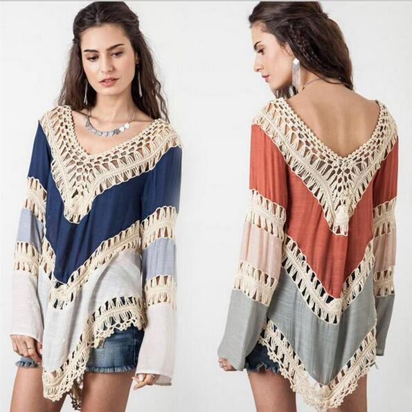Crochet Sexy Pullover Womens Poncho Hollow Out Sweater Women Pull Female V-Neck Womens Jumpers Bohemia Autumn Capes And Ponchoes