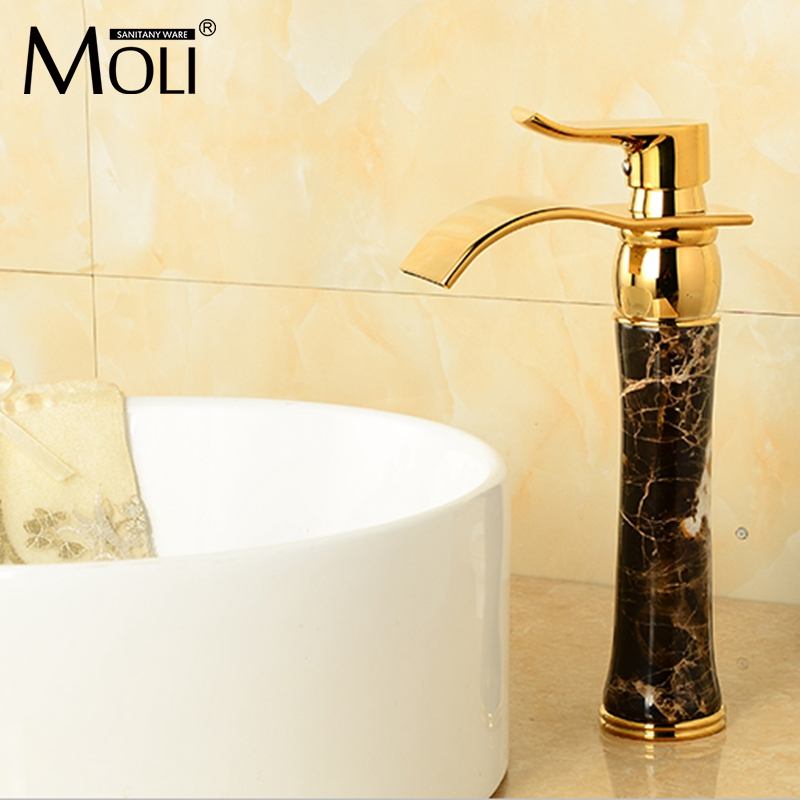 High quality soild brass gold finish bathroom faucet black stone washbasin faucet single handle waterfall tap mixer bathroom products soild brass gold finish sink faucet single lever black waterfall tap tall water mixer torneira banheiro