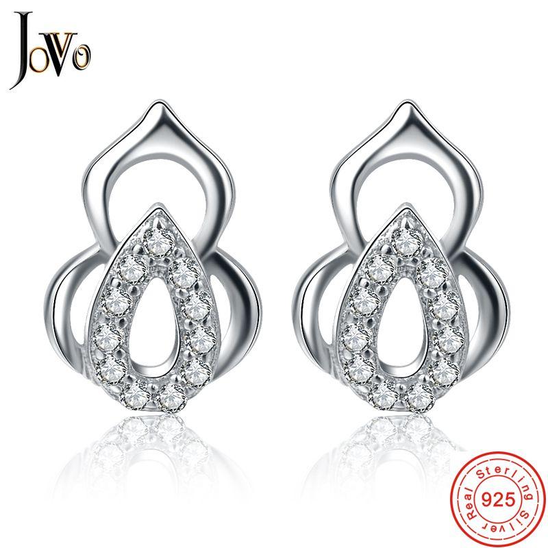 JOVO Trendy fashion women Stud pendientes de plata de ley 925 joyas - Joyas - foto 1