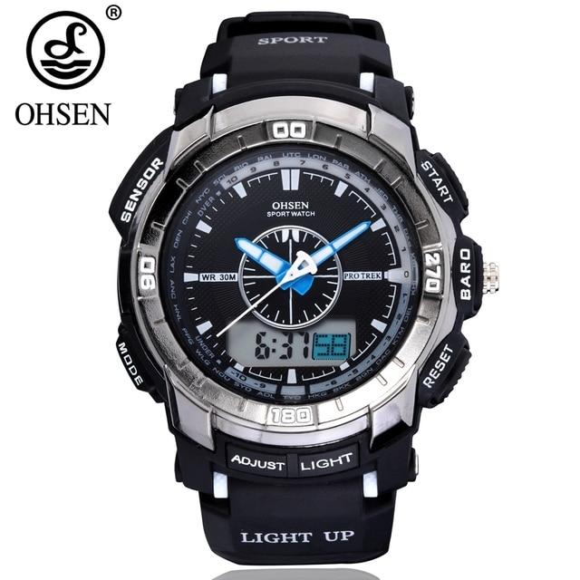 0f6ec34671 オリジナル OHSEN 新メンズファッションデジタルクォーツスポーツウォッチ腕時計 30 メートル防水シリコーンバンド白