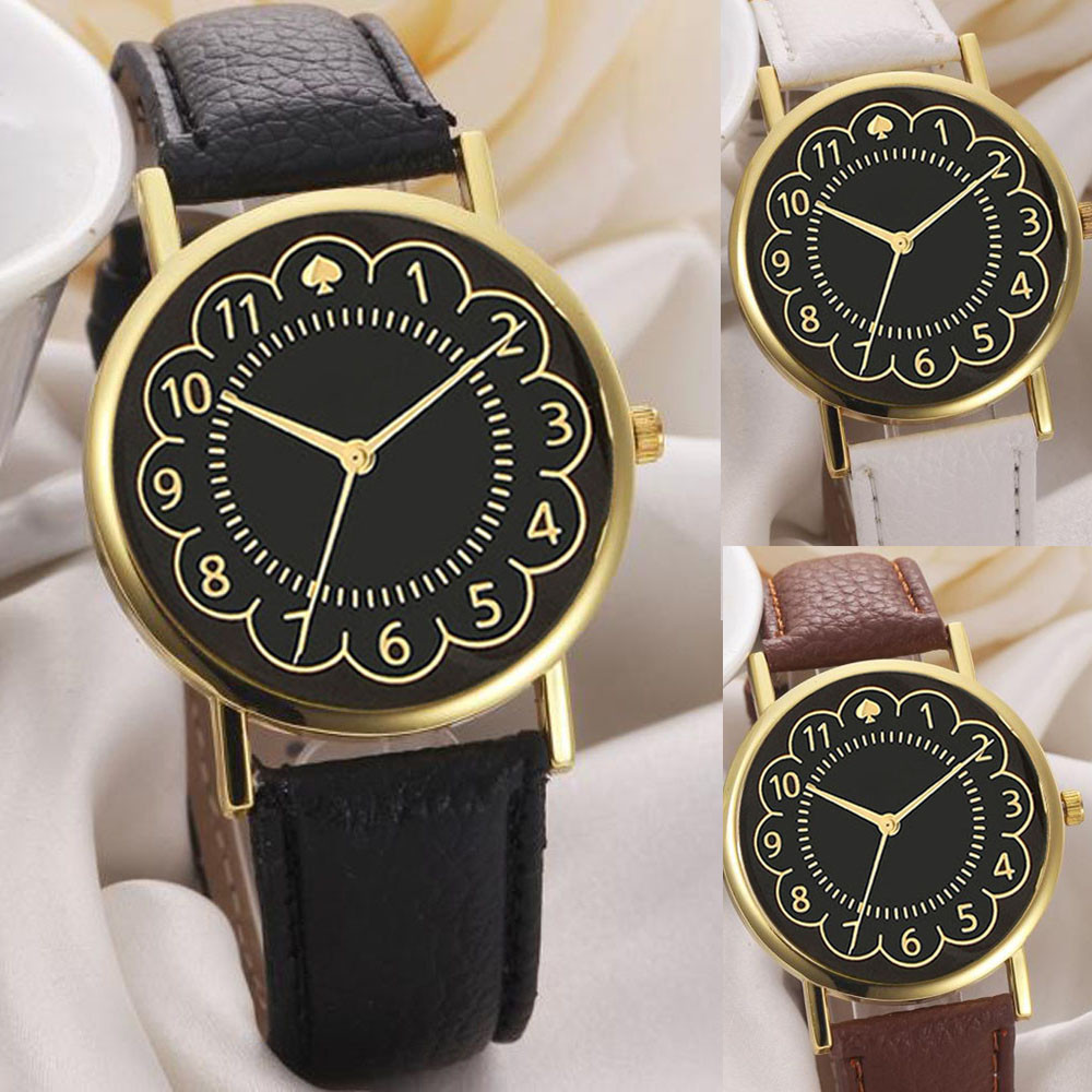 Ladies Quartz Watch Clock Reloj Mujer Erkek Saat Montre Hot Selling Casual Leather Strap Women Watches Retro Bracelet Watch @F