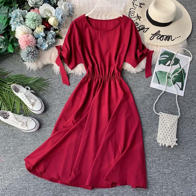 NiceMix Ruffles Vintage Chiffon Long Dresses Short Sleeve High Waist Button Women Summer Dress 2019 Vestidos new