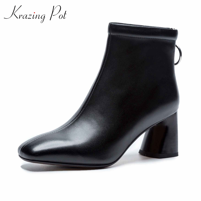 Krazing Pot genuine leather 2018 round toe high heels metal fasteners motorcycle boots mature women round buckle ankle boots L26 виктор пелевин бубен верхнего мира истории и рассказы