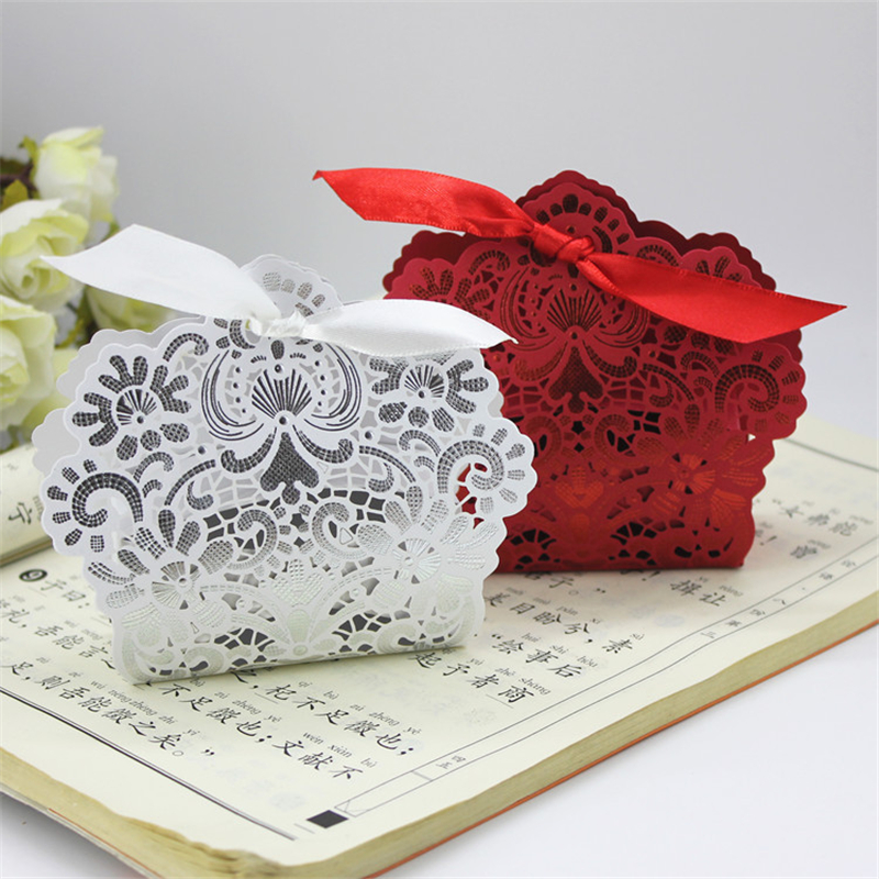 50 100pcs Wedding Candy Box Champange Gold Red White Blue Laser Cut Favor Boxes Casamento Favors Gifts