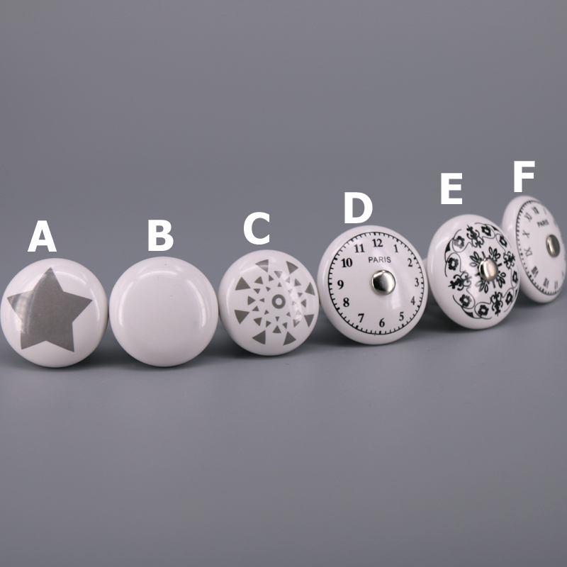 1x 33mm 38mm Single hole Ceramic knob Round Kitchen Furniture cabinet knob drawer pull handle in Cabinet Pulls from Home Improvement