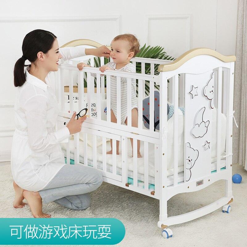 Joint parents lit 0-6 ans bébé lit en bois massif européen multifonctionnel blanc bébé Bb berceau lit deux couches enfants lit - 4