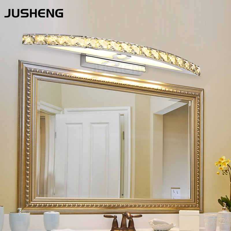 cheap New Free Shipping 15W LED Crystal Mirror Wall Lamp Bathroom Lights 90-260V Stainless Sconces Indoor Crystal Lighting 54cm pic,image LED lamps offers