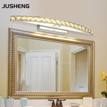 buy New Free Shipping 15W LED Crystal Mirror Wall Lamp Bathroom Lights 90-260V Stainless Sconces Indoor Crystal Lighting 54cm,image LED lamps deals
