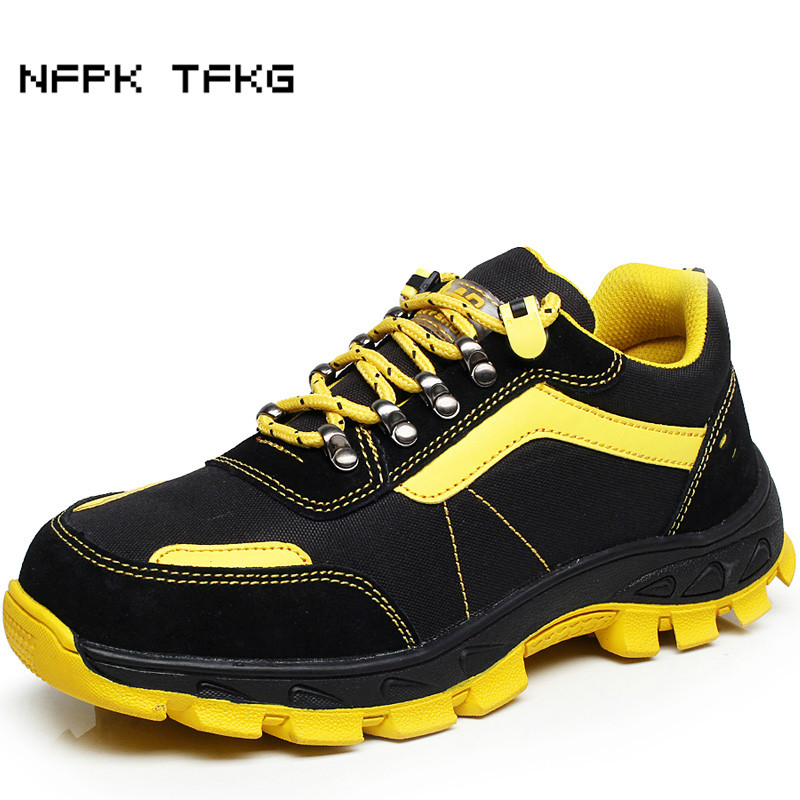 big size mens casual steel toe covers work safety shoes breathable mesh puncture proof non-slip construction site security boots купить недорого в Москве