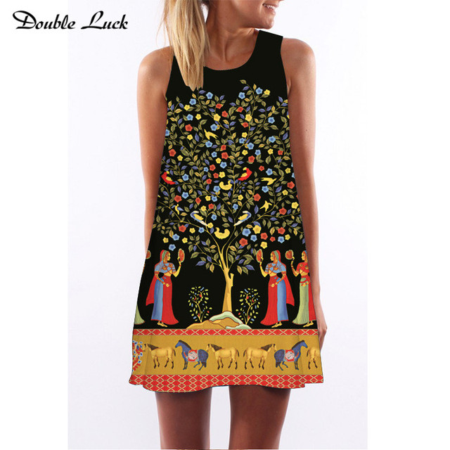 c868a058c6 Duplo Cavalo Sorte Árvore da Vida Europeia Digital Print Vestido Mulheres  Vestidos Tanque Vestido Curto Plus